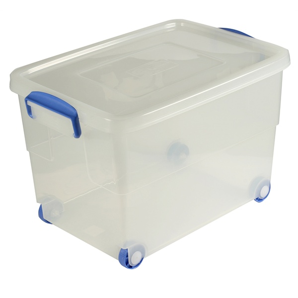 Charmant Storage Box 60l W Clip Handles On Wheels Cleanwipes Ltd