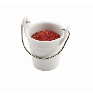 Porcelain Bucket with Stainless Steel Handle 6.5cm 10cl