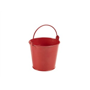 Galvanised Steel Serving Bucket 10cm Red