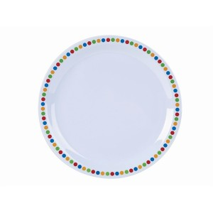 "Genware Melamine 9"" Plate- Coloured Circles"