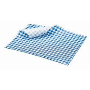 Greaseproof Paper Gingham Print Blue 25 x 20cm