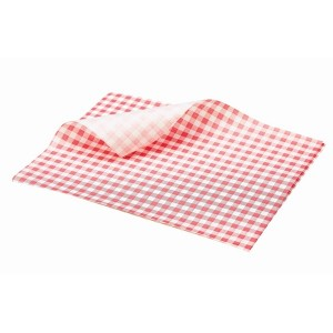 Greaseproof Paper Gingham Print Red 25 x 20cm