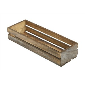 Wooden Crate Dark Rustic Finish 34 x 12 x 7cm