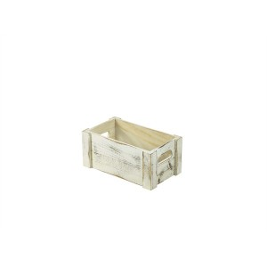 Wooden Crate White Wash Finish 27x16x12cm