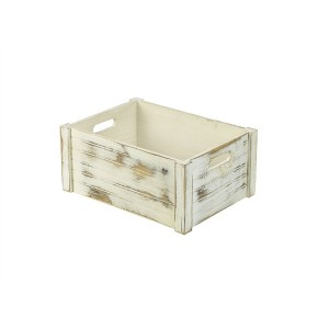 Wooden Crate White Wash Finish 41x30x18cm